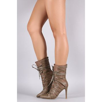 Suede Strappy Lace-Up Pointy Toe Boots