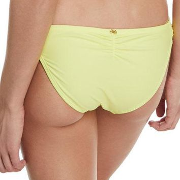 PILYQ Lace Fanned Full-Coverage Swim Bikini Bottom Yellow $65