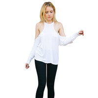 Women Sexy Strapless T-Shirts Solid Lady Loose Long-Sleeved Tops Tee Shirt femme Camisetas Feminina INY66
