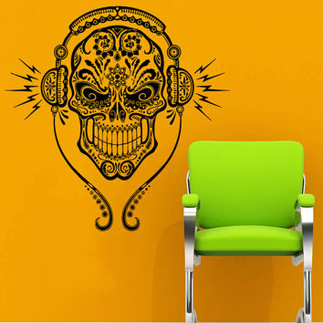 Wall Decal Vinyl Sticker Decals Art Home Decor Mural DJ Sugar Skull Tattoo Floral Pattern Damask Music Style Headphones Horror Zombie AN224
