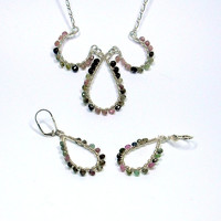 Wire Wrapped Tourmaline Sterling Silver Necklace Set