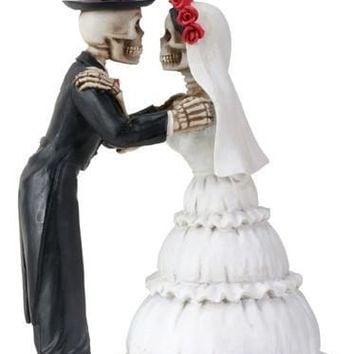 Skeletons Kiss Wedding Cake Topper Day of the Dead Couple 5.25H