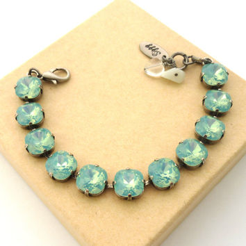 Swarovski crystal Pacific Opal bracelet, 10mm square cut stones, chunky sea foam green, designer Siggy bracelet