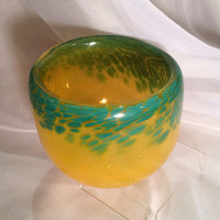 Spring Theme Blown Glass Art Bowl.  Hand Blown Glass Bowl in Green and Yellow.  Spring Decor.