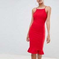 Missguided High Neck Frill Hem Midi Dress at asos.com