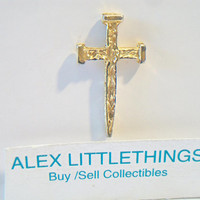 Spike Cross Lapel Pin Textured Gold Tone Unisex Religious Jewelry Accessories