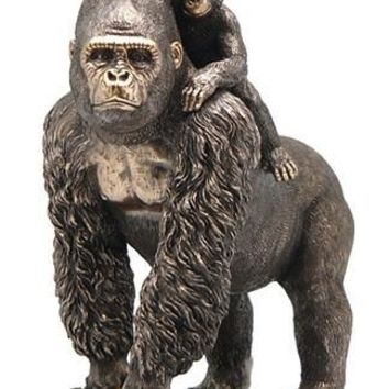 Mother Gorilla Walking With Baby on Her Back Bronze - 8373