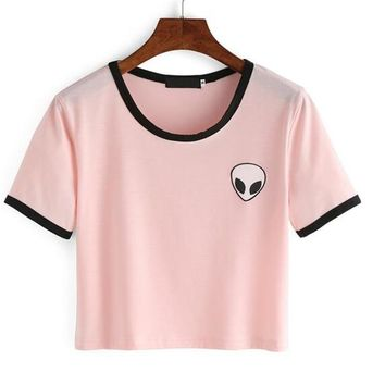 2018 summer alien Print crop top t shirt Women tops harajuku Kawaii short Sleeve White Pink Cotton tee shirt femme poleras mujer
