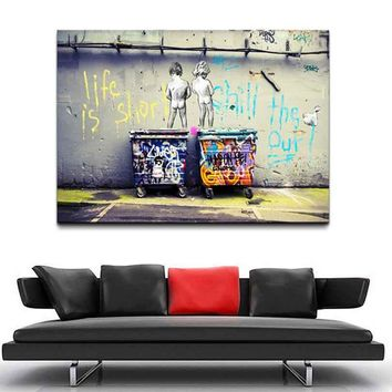 1 Pcs Large Size Banksy Art Life Is Short Chill The Duck Out Cheap Modern Canvas Art Canvas Paintings
