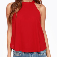 Red Halter Neckline Tank Top