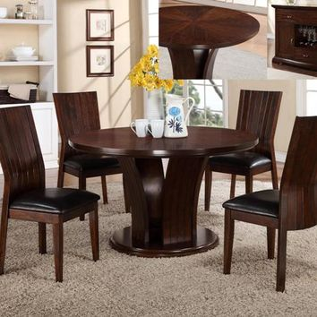 "5 pc Daria espresso finish wood round 54"" dining table set"