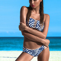 White Strapless Geometric Pattern Strappy Top Bikini Set for Women