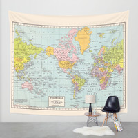 World Map Wall Tapestry by Catherine Holcombe