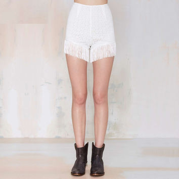 White Fringed Shorts