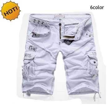 high Quality Fashion Runway Patch Straight White Khaki Black Blue 5color Military Camo Tactical Cargo Short trousers Men 29-38