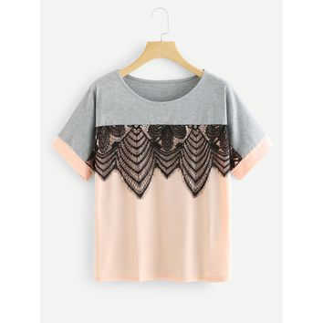 Lace Applique Two Tone T-shirt Grey/Pink