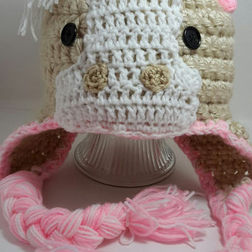 Horse hat. crochet. pink horse hat. Made by Bead Gs on Etsy. fits average age 1 years