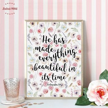 Bible Verse Canvas Painting Poster, Christian Verses for the Wall Decoration Nursery Bible Verse, Flowers Wall Art CM028-1
