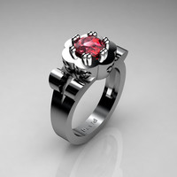 Nature Inspired 950 Platinum 1 Carat Ruby Flower Engagement Ring R1010-PLATR