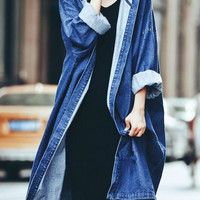 Blue Hooded Long Sleeve Longline Denim Coat