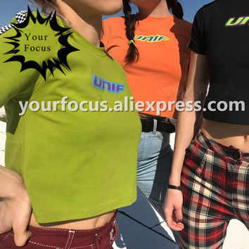 2017 summer old school retro 90s checkerboard stitching unif logo cropped tight and short crop top women t-shirt men