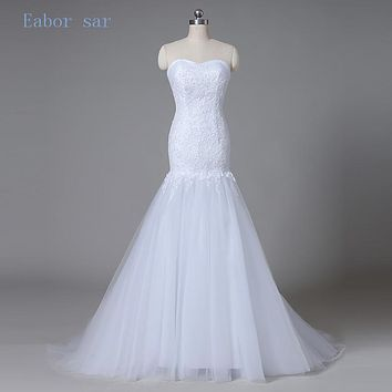 Hot Sale 2017 New Design Applique & Tulle Bridal Gown A Line White / Ivory Wedding Dress