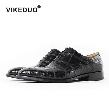 Handmade Italy Crocodile Skin Men's Oxford Shoes Wedding Party Dance Dress Casual Alligator Male Genuine Leather
