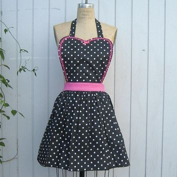 Retro APRON  50s housewife womens Black by loverdoversclothing
