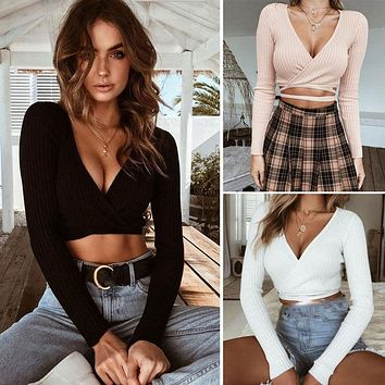 2018 Sexy Women Ladies Summer Slim Crop Tops Long Sleeve T Shirt Casual Solid V Neck Knitted Short Tops