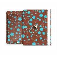 The Brown and Blue Floral Layout Skin Set for the Apple iPad Air 2