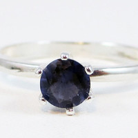 Sterling Silver Iolite Solitaire Ring, Water Sapphire Ring, 925 Iolite Ring, Sterling Silver Solitaire Ring, Iolite Solitaire Ring