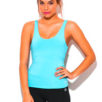 Sky Blue Criss Cross Back Paneled Fitted Fitness Activewear Tank Top
