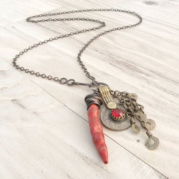Nomadic Talisman Necklace, Long Mixed Metal Charm Cluster Necklace with Tribal Gypsy Coin and Coral Horn