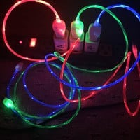 """Micro USB """"Visible Current Flow"""" Light Up Charger Cable"""