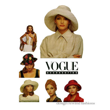 90s HAT & BOLERO PATTERN Wide Brim Hat Sun, Beach, Chemo Hats Vogue 6612 Patricia Underwood Women's Accessories Craft Sewing Patterns UnCUT