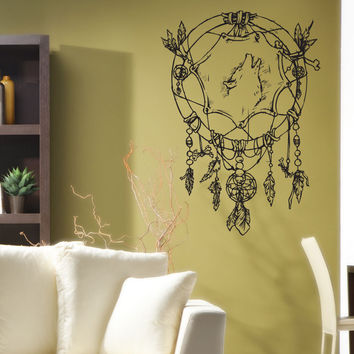 Vinyl Wall Decal Sticker Wolf Dreamcatcher #1240