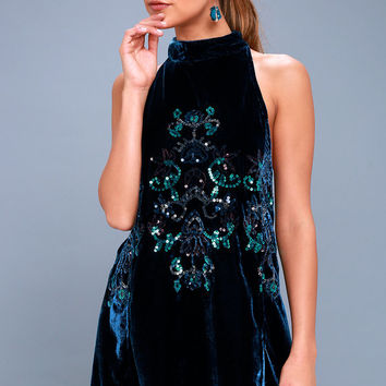Jill's Navy Blue Velvet Sequin Swing Dress