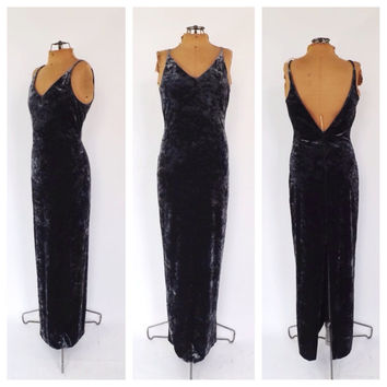 Vintage MINIMALIST Pewter Gown 1990s does 70s Crushed Velvet Maxi Dress Size Medium Sexy Slinky Fitted Gown Glam Grunge New Years Eve Dress
