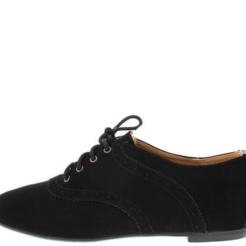 LYNDA40 BLACK LACE UP LOAFER FLAT