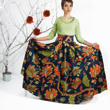 Maxi Skirt, Long Skirt, Circle Skirt, Floor Length Linen Skirt, Full Floral Skirt, Flower Print Skirt, High Waisted Skirt, Plus Size Skirt