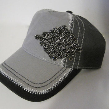 Two Tone Grey and Black Trucker Baseball Cap Hat with Gorgeous Black Rhinestone Accent Caps Womens Accessories
