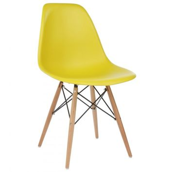 Eames Style DSW Molded Dark Yellow Plastic Dining Shell Chair with Wood Eiffel Legs