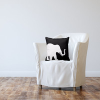 SALE Elephant Throw Pillow Cover Black White Decor Elephant Decor Elephant Pillow Home Decor Living Room Pillow Bedroom Pillow Couch Cushion