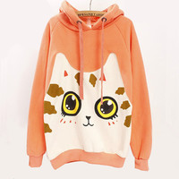Lovely big face cat printed fleece