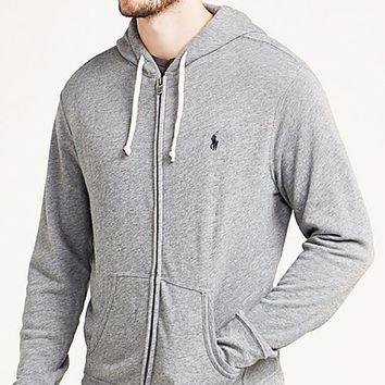DCCKB62 Polo Ralph Lauren Fashionable Unisex Casual Logo Embroidery Zipper Hoodie Pullover Top Sweater Coat Grey I-KWKWM