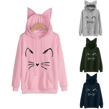 Womens Cat Ear Solid Long Sleeve Hoodie Sweatshirt Hooded Pullover Tops Blouse Sudadera Mujer Hoodies Women NEW Dropshipping