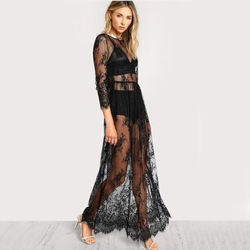 COLROVIE Black Sheer Floral Lace Maxi Dress High Waist Sexy Women Buttoned Split Back Party Dress Ladies Beach Long Dress