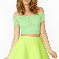 Nasty Gal Budding Lace Crop Top