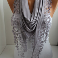 NEW- Soft Lilac - Jersey Scarf - Shawl Scarf - Triangle Scarf - Headband - Cowl with Lace Edge- DIDUCI
