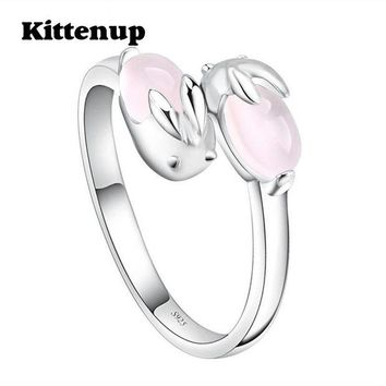 ac spbest Kittenup New Design Simple Lovely Pink Cute Rabbit Temperament Rings Jewelry Gifts For Girl Women